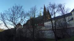 Czech Republic Prague Praha Castle Saint Vitus Cathedral camera pan right 4k Stock Footage