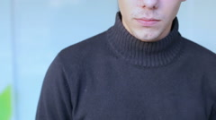 Serious guy with glasses look at camera - stock footage