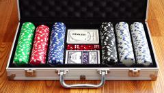 Set for poker games in Texas Holdem with bones and plastic cards Stock Footage