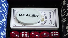 White dealer button for poker playing cards and dice in the set - stock footage