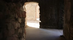 Walking inside Forte Interrotto of First World War Stock Footage