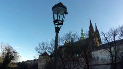 Czech Republic Prague Praha Castle Saint Vitus Cathedral walking over bridge 4k Stock Footage