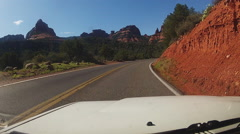 Stock Video Footage of Viewpoint Approaching Sedona Arizona In Car On Highway 89A