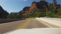 Stock Video Footage of Driver Viewpoint Car On Arizona Hwy 89A In Oak Creek Canyon
