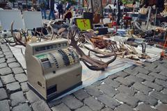 Old vintage things on the  flea market on Place du Jeu de Balle in Brussels, - stock photo