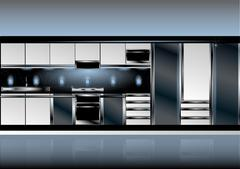 White kitchen in high-tech style Stock Illustration