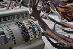 Old vintage things on the  flea market on Place du Jeu de Balle in Brussels, Stock Photos