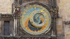 astronomical clock, prague, czech republic, timelapse, zoom out, 4k - stock footage