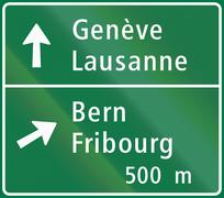 Road sign used in Switzerland - Motorway junction sign Piirros