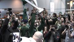 Soccer Team Cheering With Trophy Stock Footage