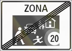 Road sign used in Switzerland - End of home zone - stock illustration