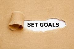 Set Goals Torn Paper Concept Stock Photos