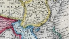 Vintage map of Asia Stock Footage
