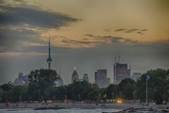 Toronto skyline from Woodbine beach - stock photo