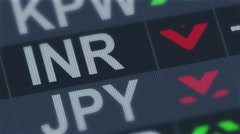 World currency exchange rate fluctuations on display. Global financial market Stock Footage