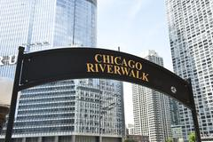 Stock Photo of Chicago Riverwalk Signboard