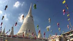 Wide angle shot from the Wat Prayurawongsawas temple Bangkok Stock Footage
