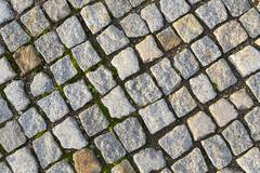 cobble stones Brick walkways background in red and grey - stock photo
