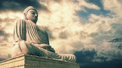 Buddha Statue With Epic Sky Timelapse Stock Footage