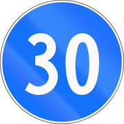 Road sign used in Switzerland - Minimum speed - stock illustration