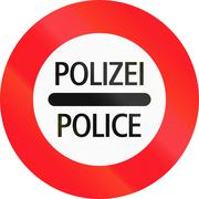 Road sign used in Switzerland - Police checkpoint, Polizei means Police in Ge Piirros
