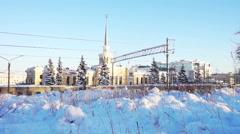 Railwaystation Building in Petrozavodsk, Karelia, Russia - stock footage