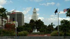 LA City Hall w Fountain Stock Footage