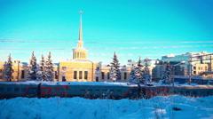 Railway Station in Petrozavodsk, Karelia - stock footage