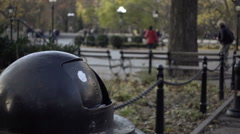 Close-up on garbage can in Washington Square Park, trash in NYC 1080 HD Stock Footage