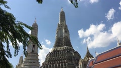 Wide angle from the Wat Arun Temple of Dawn Stock Footage