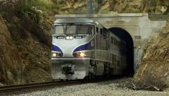Train Exits from Tunnel HD Stock Footage