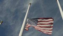 American flag at half-staff - stock footage