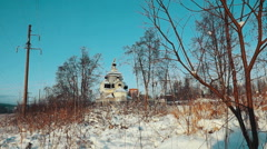 Orthodox Church in Winter Day, Kondopoga, Russia Stock Footage