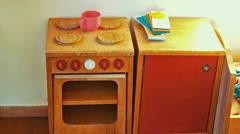 Kids Toy Wooden Kitchen Furniture Stock Footage