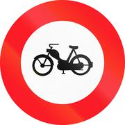Road sign used in Switzerland - No mopeds - stock illustration