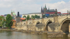 charles bridge and castle view, prague, czech republic, timelapse, 4k - stock footage