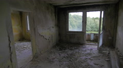 Empty cracked room of an abandoned building Stock Footage