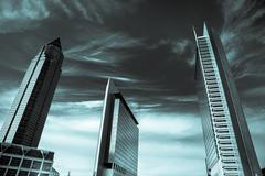 Frankfurt Business Towers  Black and White Landscape Stock Photos