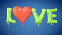 Balloons create LOVE word. Valentine's Day Stock Footage