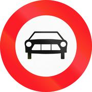 Road sign used in Switzerland - No motor vehicles except solo motorcycles - stock illustration