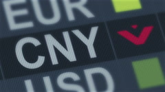 Stock Video Footage of World exchange market default. Global financial crisis. Chinese yuan falling