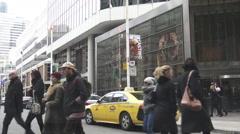 Pedestrians crossing a street in Toronto, Canada Stock Footage