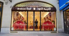 Arabian oud luxury fragrance store in Paris, France Stock Footage