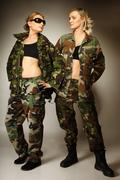 Two women in military clothes army girls Kuvituskuvat