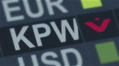 South Korean won falling. World exchange market default. Global financial crisis Stock Footage