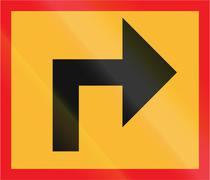 Road sign used in Sweden - Direction sign - stock illustration