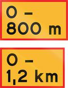 Road signs used in Sweden - Length of stretch of road beginning at sign - stock illustration