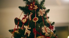 New Year, beautiful Christmas decorations on a background garlands blinking. Stock Footage