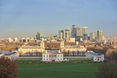 Canary Wharf from Greenwich - stock photo