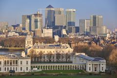 Canary Wharf from Greenwich Stock Photos